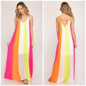 Vici She + Sky Color Block Striped Maxi Slip Dress